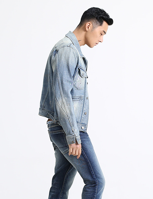 T. LIGHT WASHING PAINTING DENIM JACKET