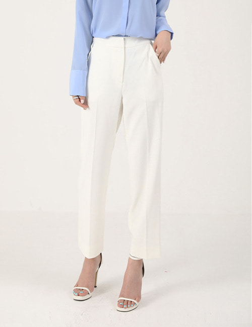 C. SEMI WIDE STRAIGHT WHITE SLACKS