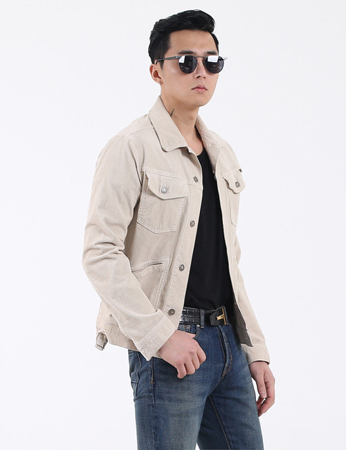 T. STRETCH COTTON CORDUROY JACKET_BEIGE