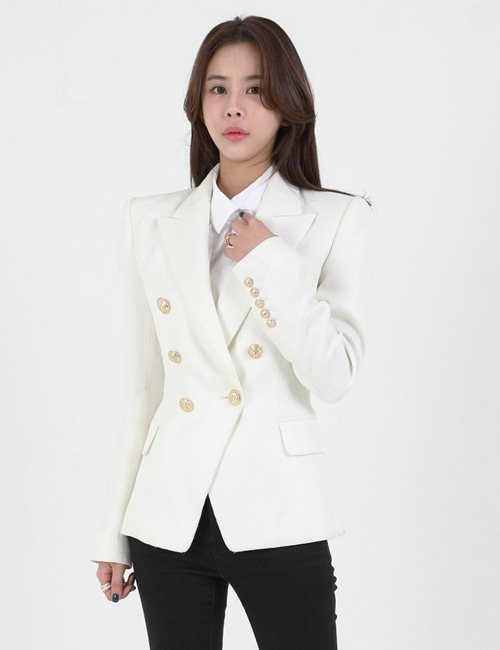 B. DOUBLEBREASTED JACKET_WHITE