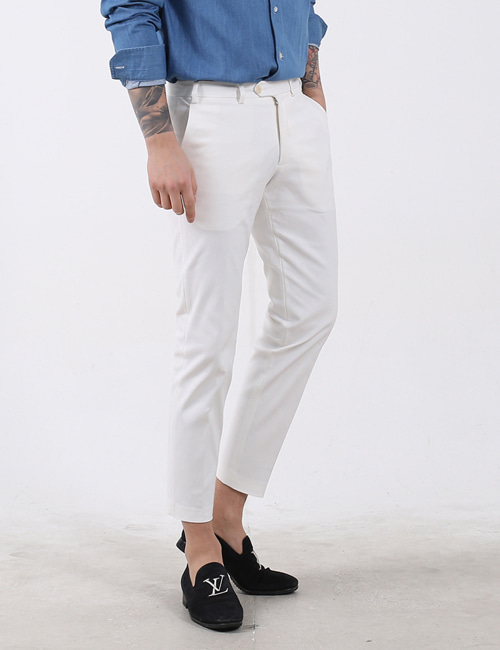 N. STRETCH SLIM COTTON WHITE PANTS