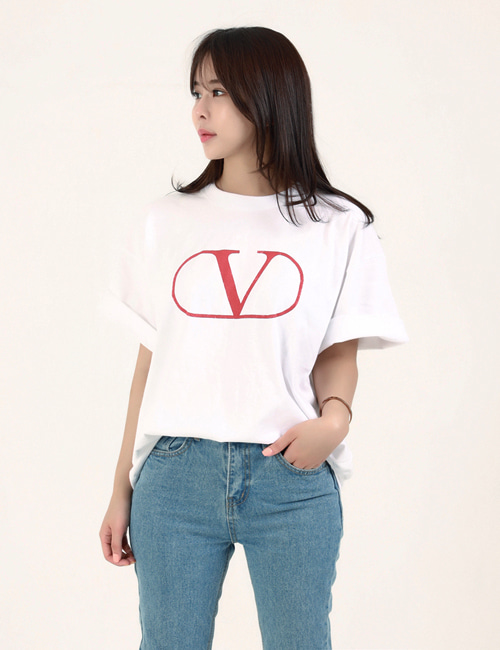 V. BIG LOGO ROUND T_SHIRTS_2COLOR_W