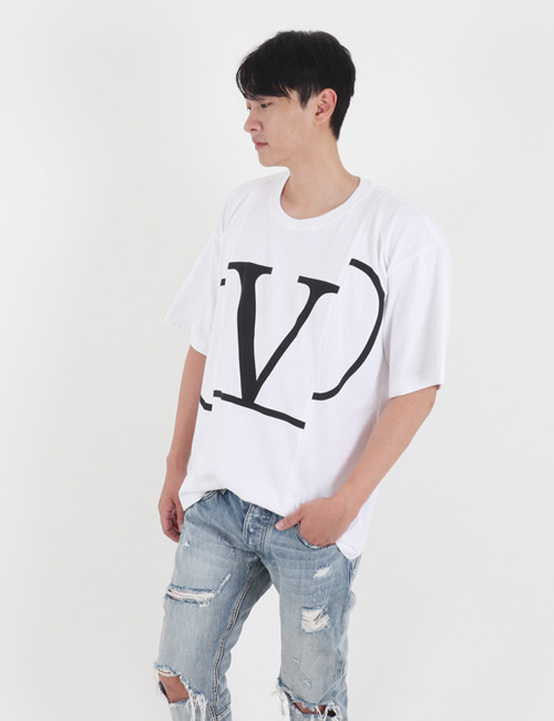 V. BIGLOGO CUTTING ROUND T_SHIRTS_2COLOR_M