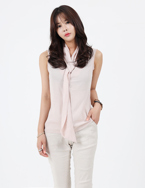 L. SLEEVELESS SILK SCARF SHIRTS_3COLOR