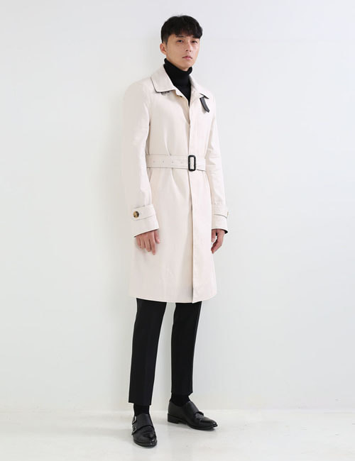 T. LEATHER TRIM TRENCH COAT