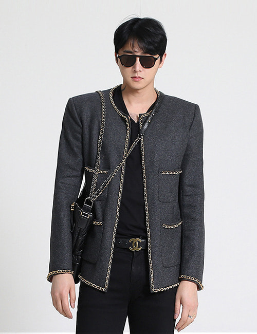 C. WOOL CHAIN TWEED JACKET_CHARCOAL_M