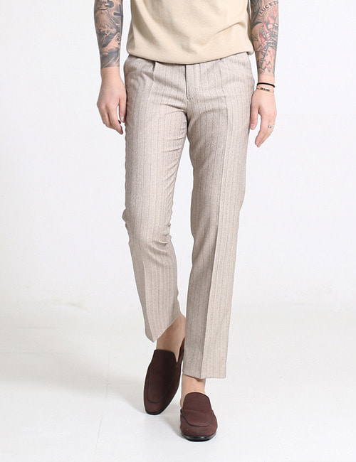 G. CROP HERRINGBONE WOOL BREND PANTS