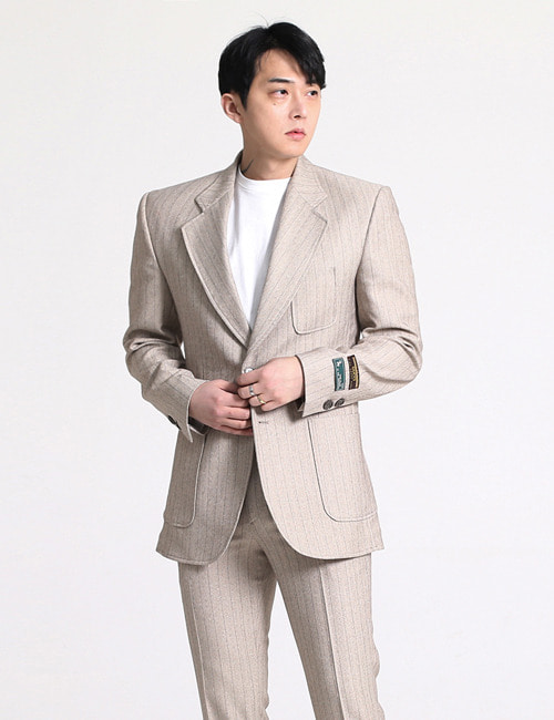 G. CROP HERRINGBONE WOOL BREND SUIT