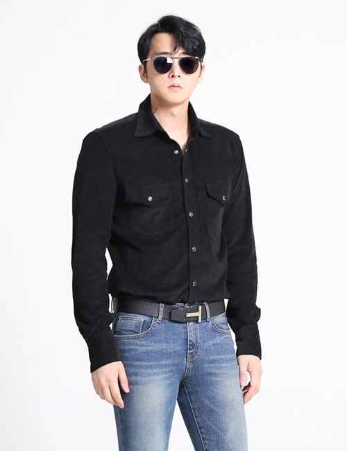 T. WESTERN DENIM SHIRTS_BLACK