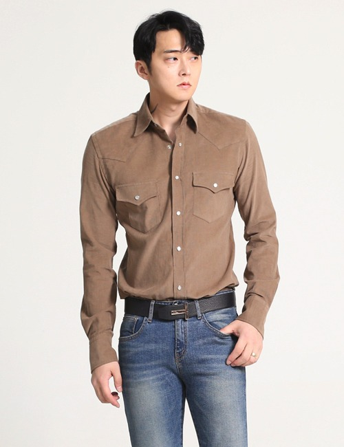 T. WESTERN DENIM SHIRTS_BROWNE