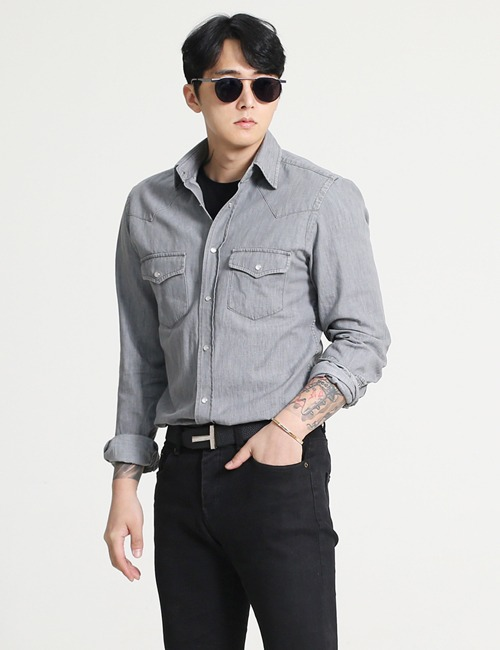 T. WESTERN DENIM SHIRTS_GRAY