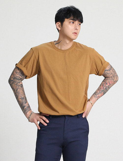 B. LOGO EMBROIDERY COTTON ROUND T-SHIRTS_2COLOR